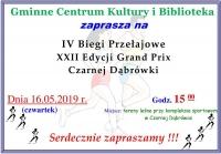 Zapraszamy na IV i V Biegi Przełajowe XXII Edycji Grand Prix Czarnej Dąbrówki